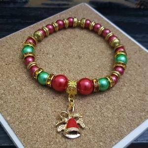 Handmade Gold bell Christmas bracelet